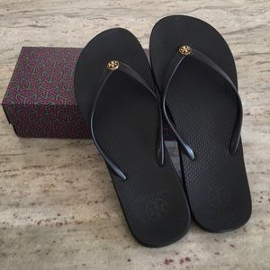 Tory Burch black flip flops with original box